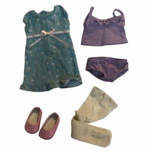 American Girl  spring dress,tights,shoes,undies